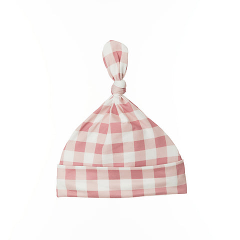 Gingham Blush Top Knot Hat