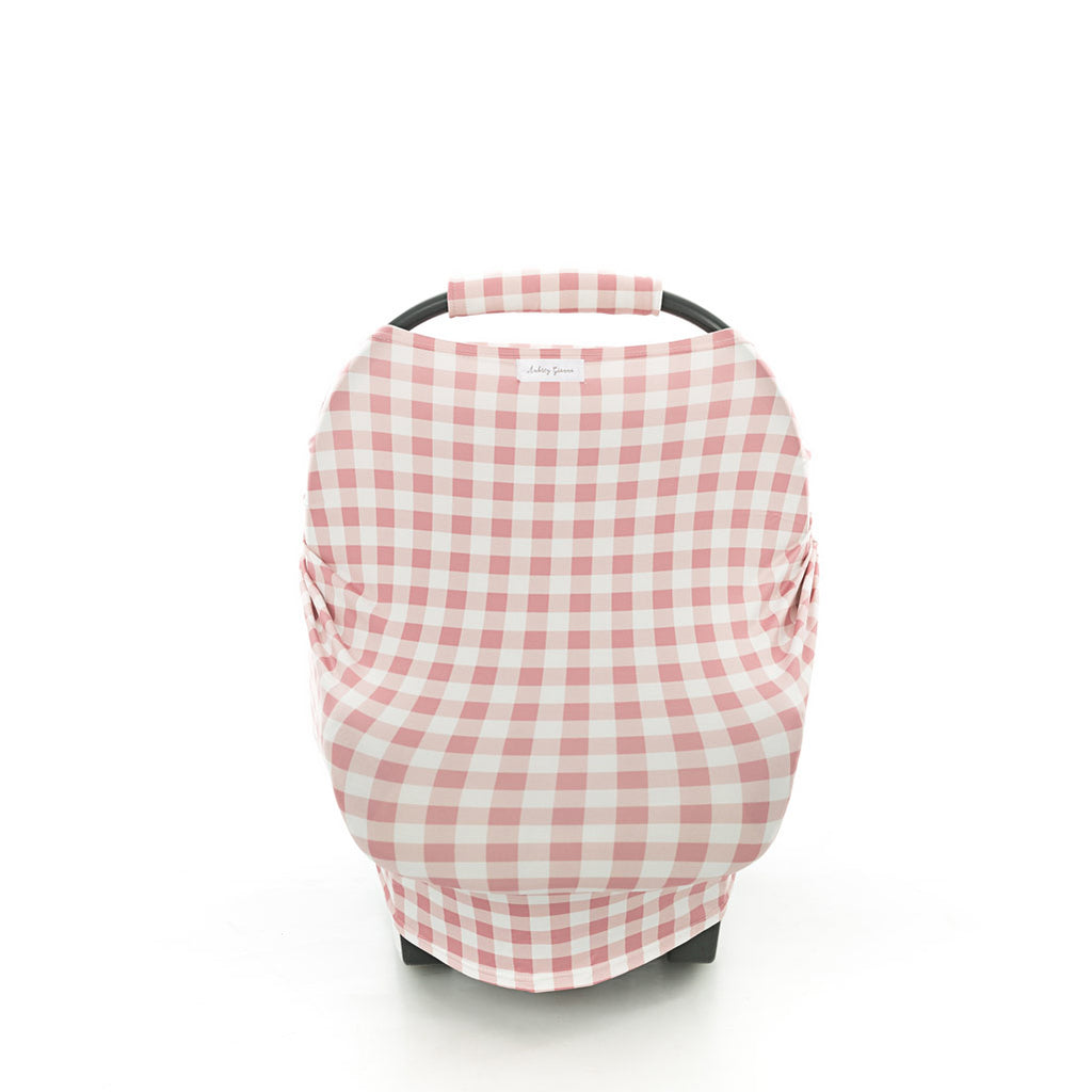 Gingham Blush 3 In 1 Breastfeeding/Car Seat Cover