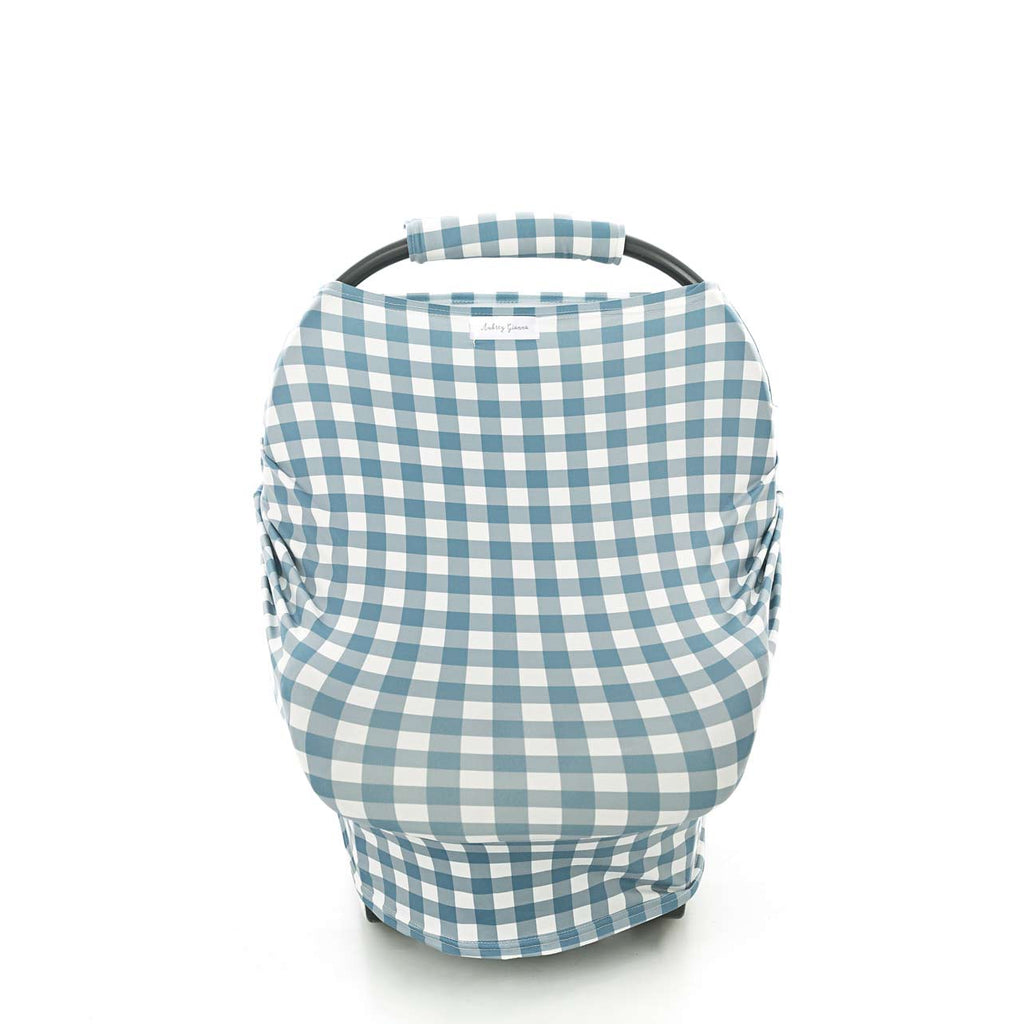 Dusty Blue Gingham 3 In 1 Breastfeeding/Car Seat Cover