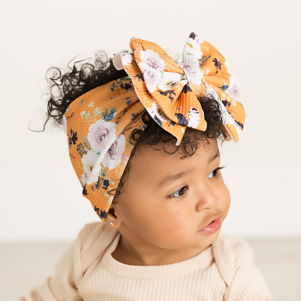 Abby Bow Mustard Floral