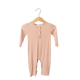 Dusty Pink Button Bamboo Romper
