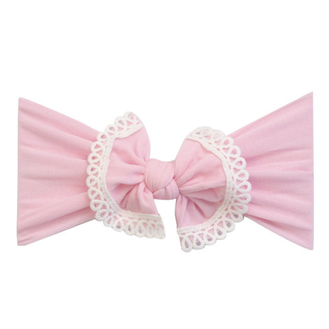 Lace Trim Bow Nylon Headband- Baby Pink