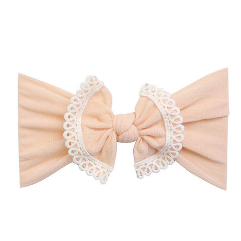 Lace Trim Bow Nylon Headband- Peach