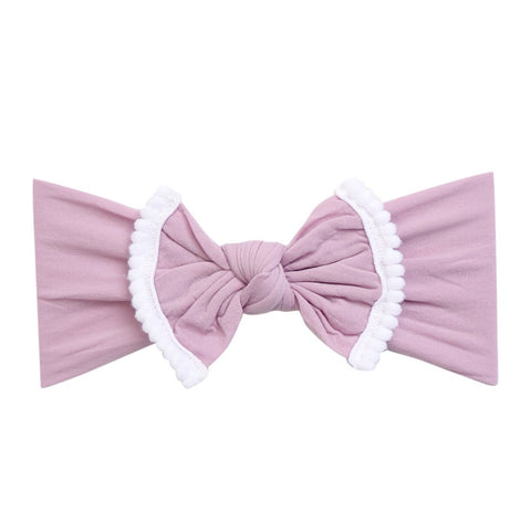 White Pom Pom Trim Bow Nylon Headband-Lilac