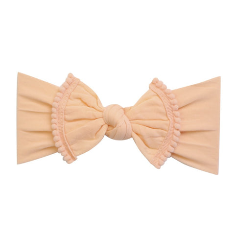 Pom Pom Trim Bow Nylon Headband-Peach