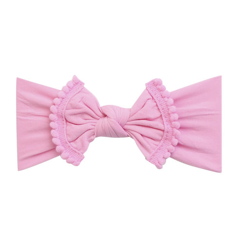 Pom Pom Trim Bow Nylon Headband- Bubblegum