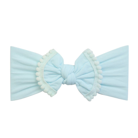Pom Pom Trim Bow Nylon Headband- Aqua