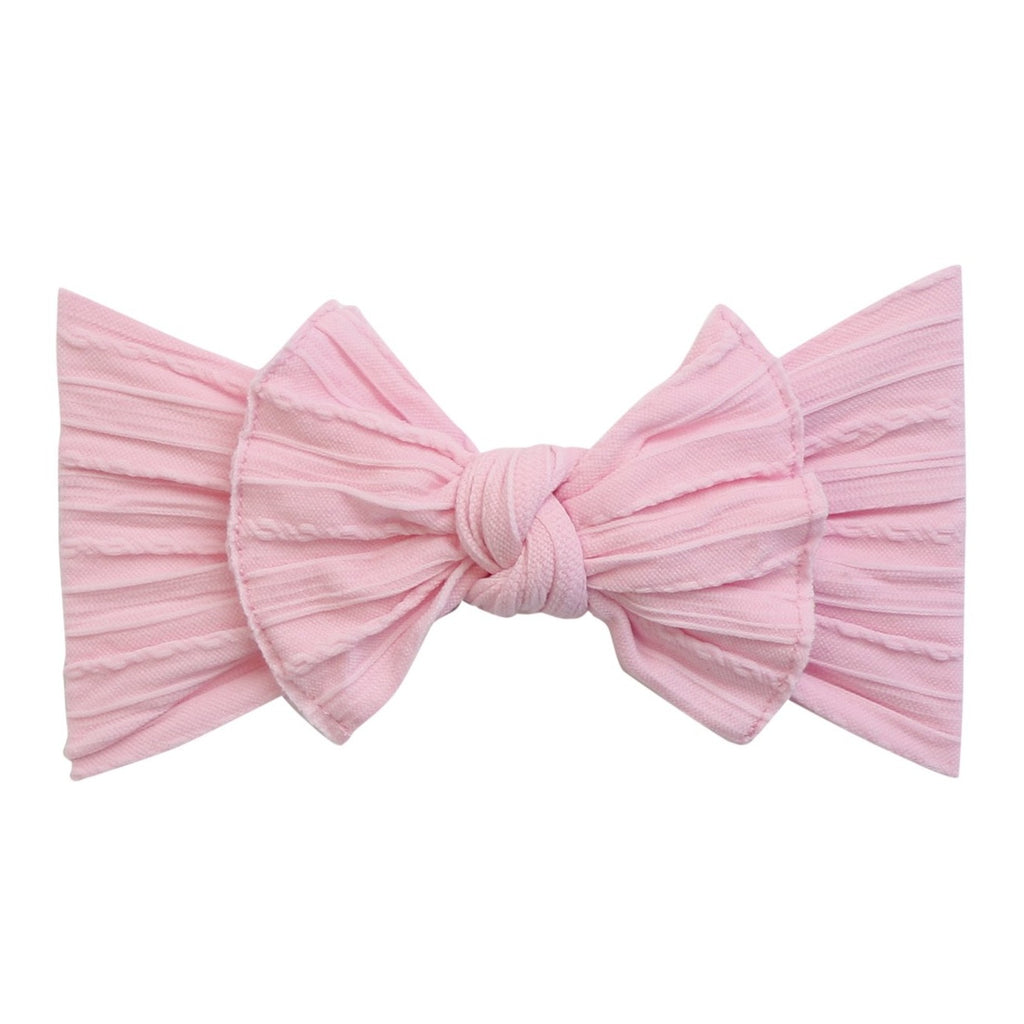 Cable Knit Classic Bow Headband for Babies- Baby Pink