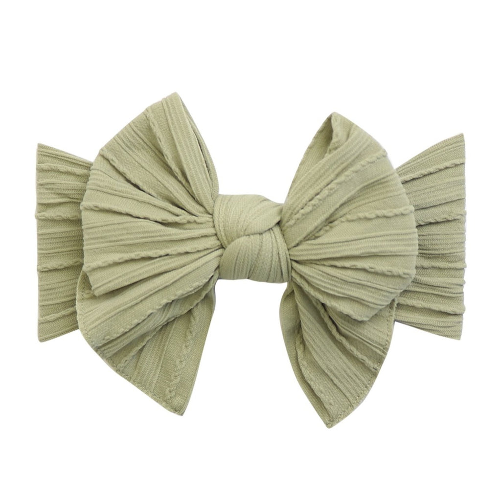 Luna Bow Nylon Headband- Sage