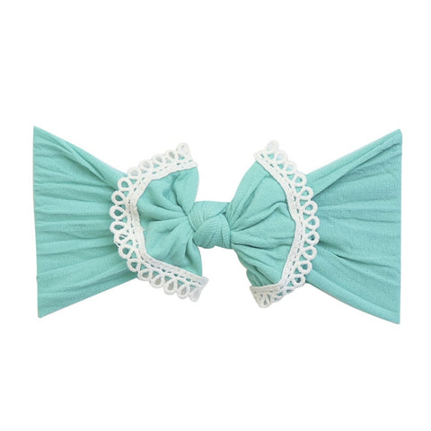 Lace Trim Bow Nylon Headband-Aqua Marine