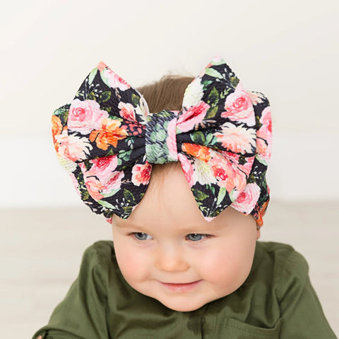 Abby Bow Black Floral