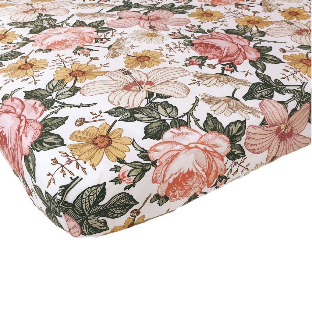 Garden Floral Crib Sheets White