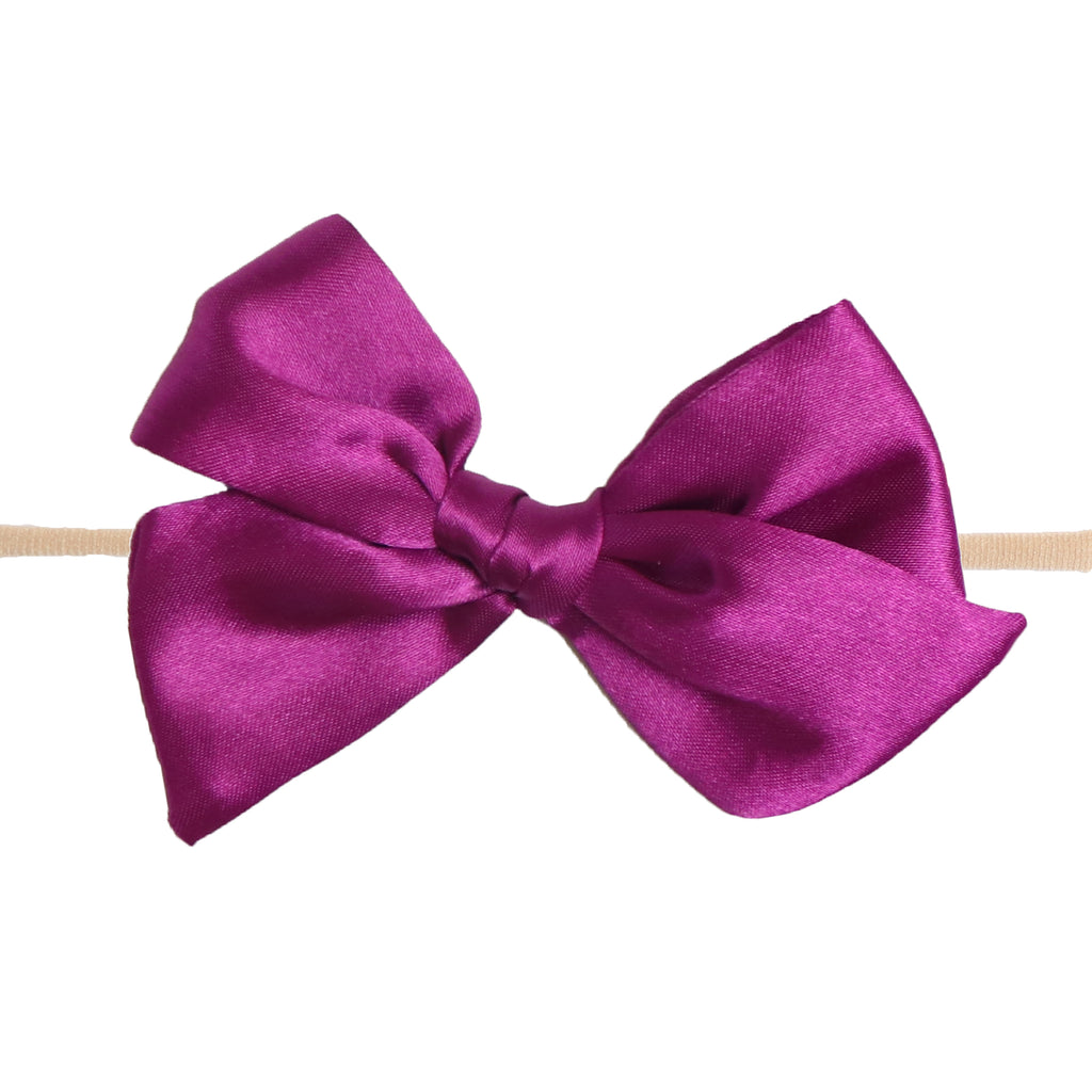 Plum Satin Knot Bow Skinny Nylon