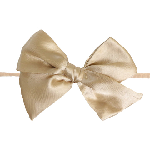 Cream Gold Satin knot Bow Skinny Nylon