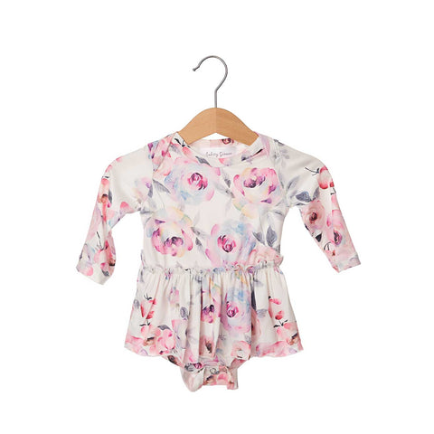 Winter Rose Long Sleeve Skirted Bodysuit