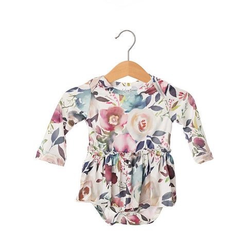 French Rose Long Sleeve Skirted Bodysuit