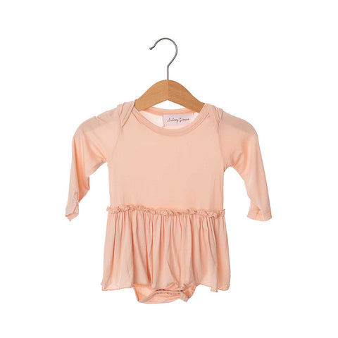 Blush Pink Long Sleeve Skirted Bamboo Bodysuit