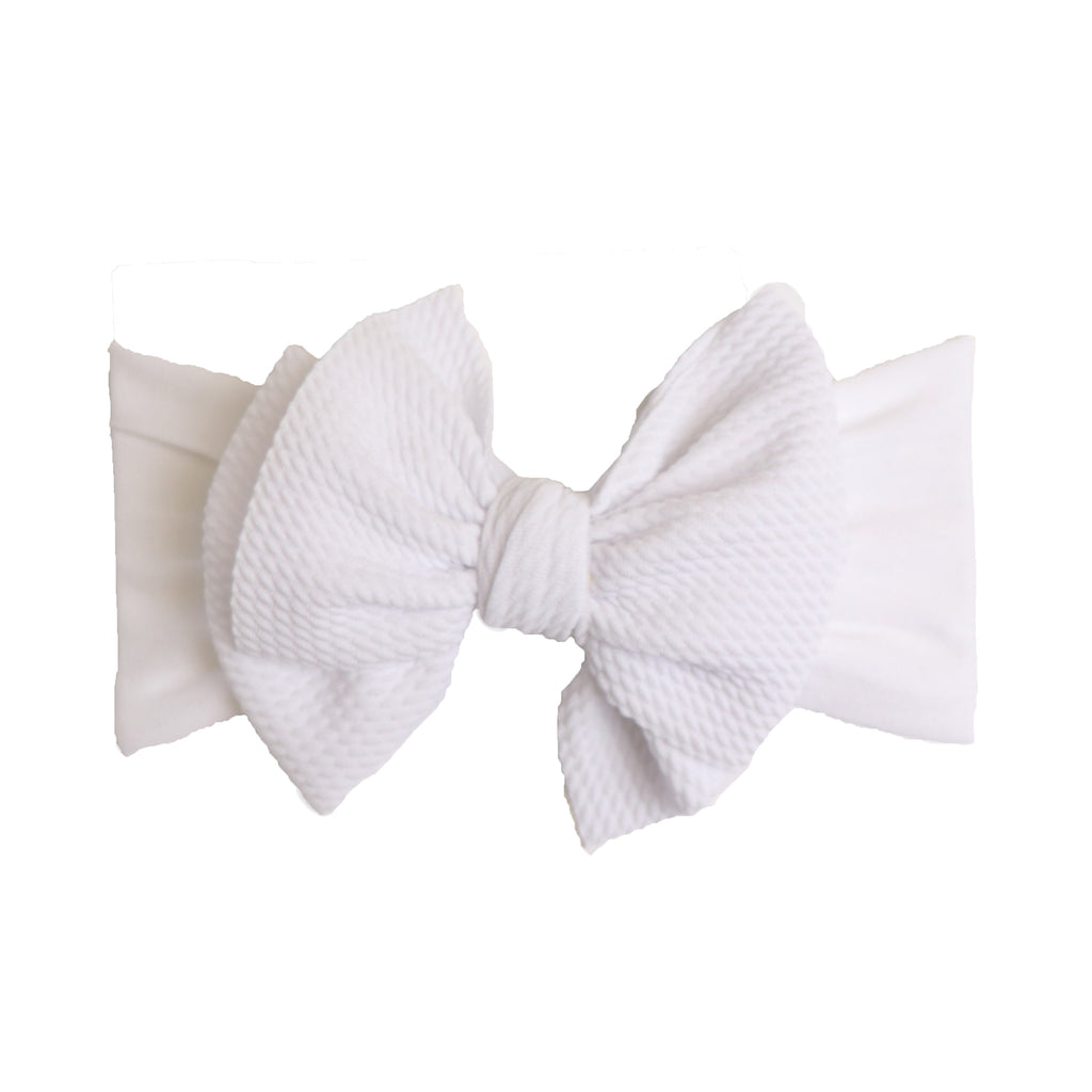 Emma Bow Wide Headband- White