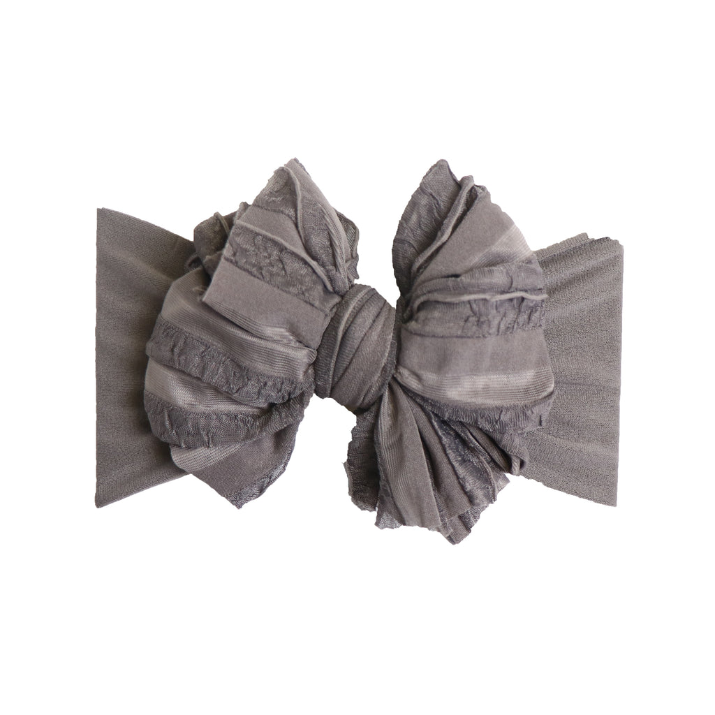 Metal Grey Ruffle Sophie Bow- Wide Nylon