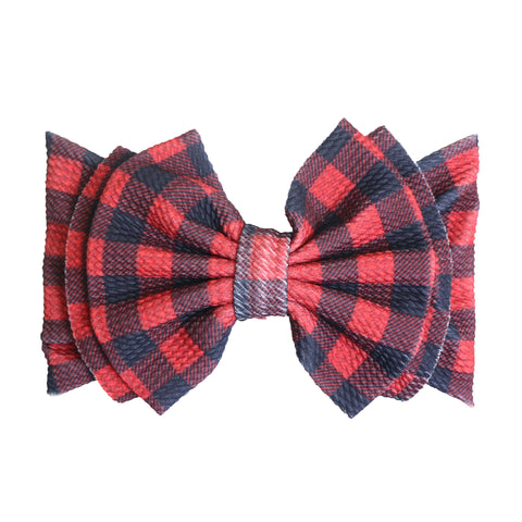Abby Bow Headwrap- Red Plaid