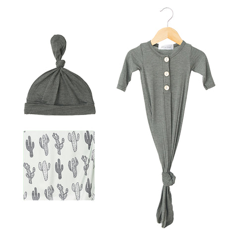 Grey Cactus & Heather Steel Newborn Bundle Gift Set