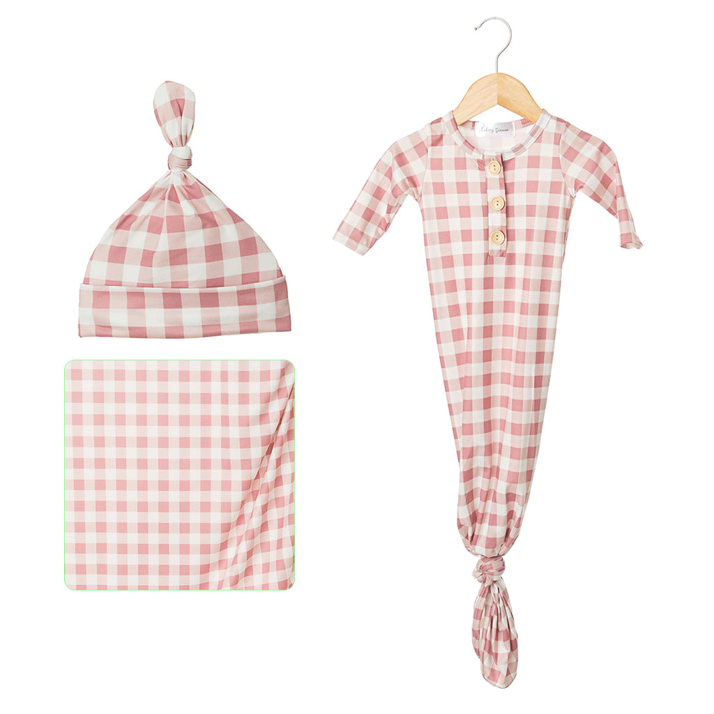 Gingham Blush Newborn Bundle Gift Set