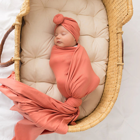 Burnt Orange Knit Swaddle Blanket