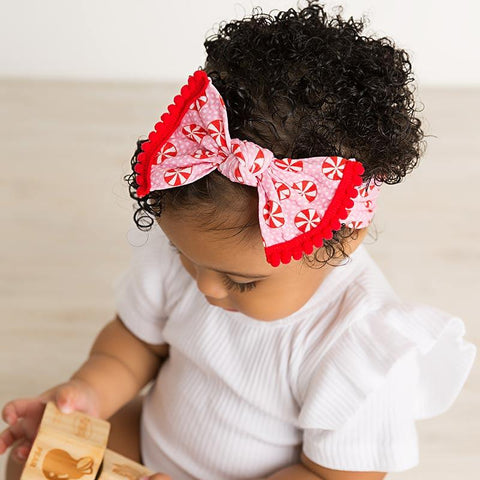 Candy Cane Pom Pom Bow- Wide Nylon Headband