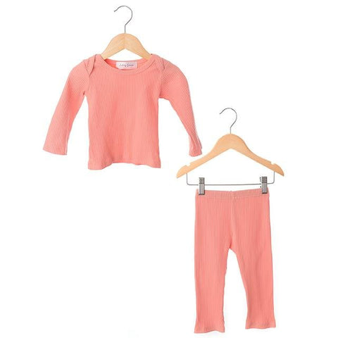 Coral Ribbed Two Piece Set