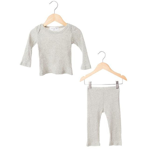 Grey Ribbed Two Piece Set