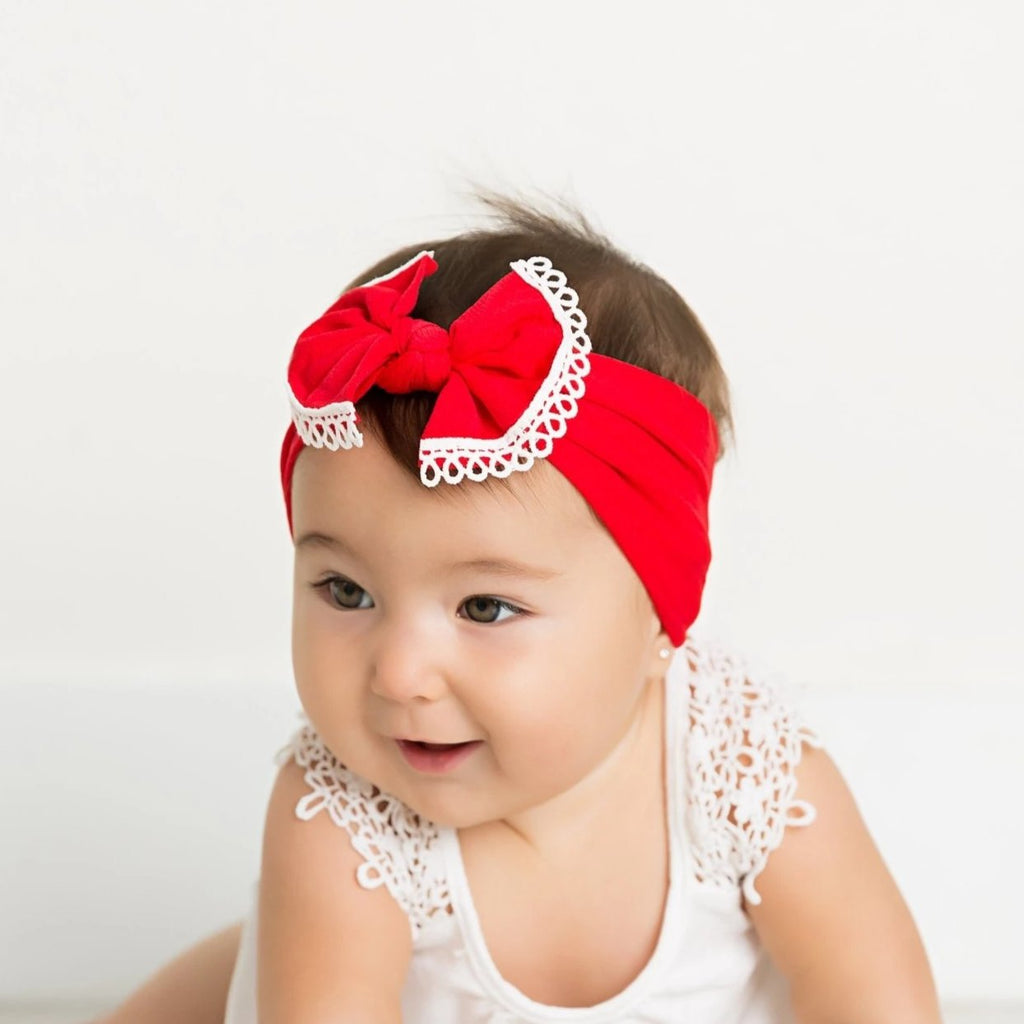 Lace Bow Nylon Headwraps