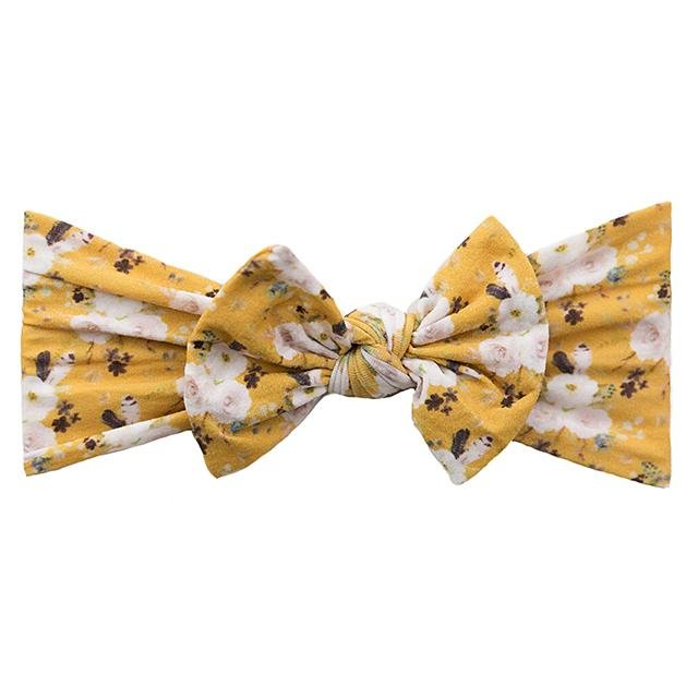 Mustard Floral Print Classic Knot
