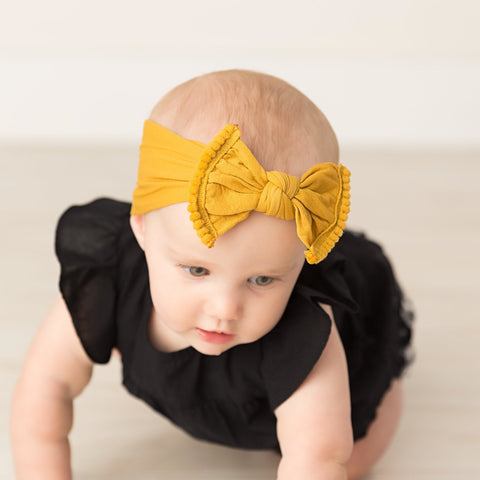 Pom Pom Trim Bow Nylon Headwrap