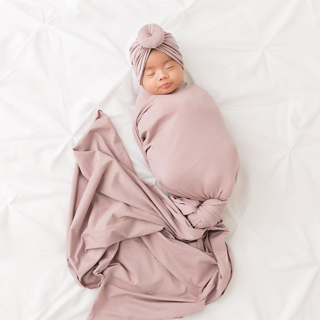 Purple Grey Knit Swaddle Blanket