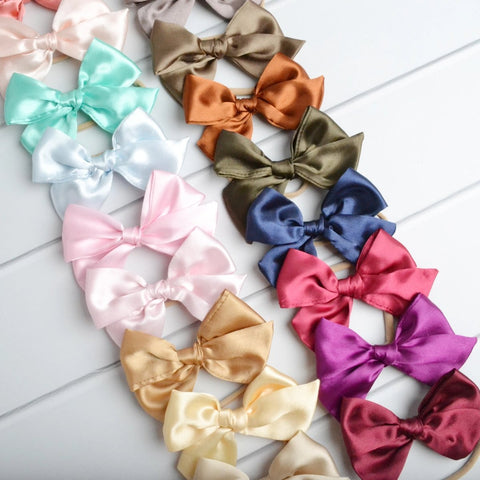 Satin Knot Bow skinny headband