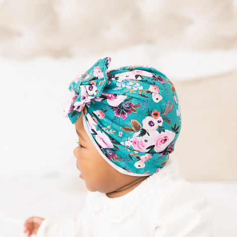 Turban Hat - Floral Messy Bow