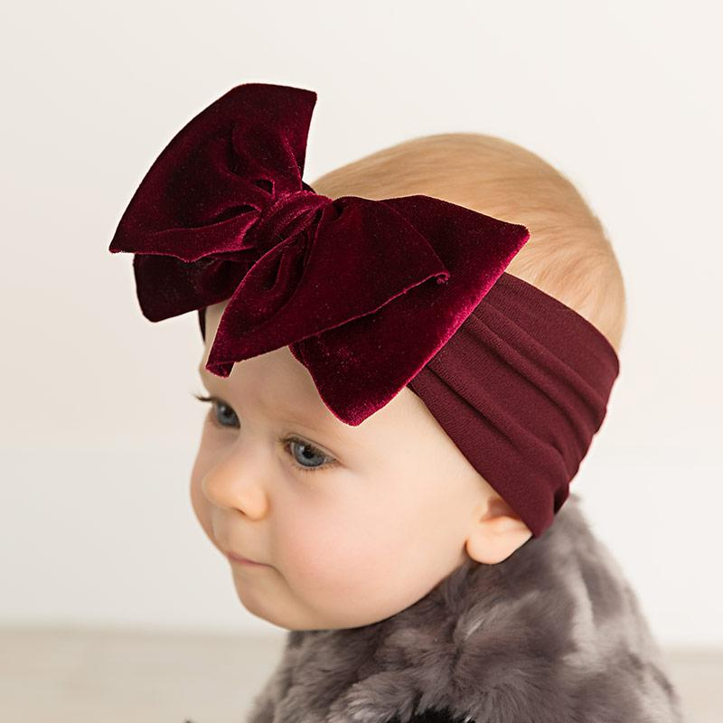 Velvet Bow Wide Nylon Headband