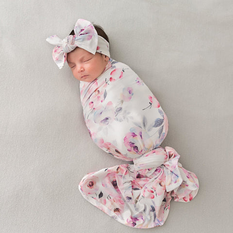 Winter Rose Swaddle & Headband Set