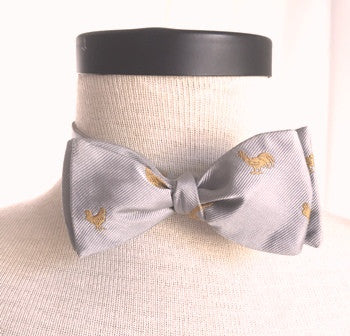 GOLD ROOSTER ON SILVER SILK BOW TIE