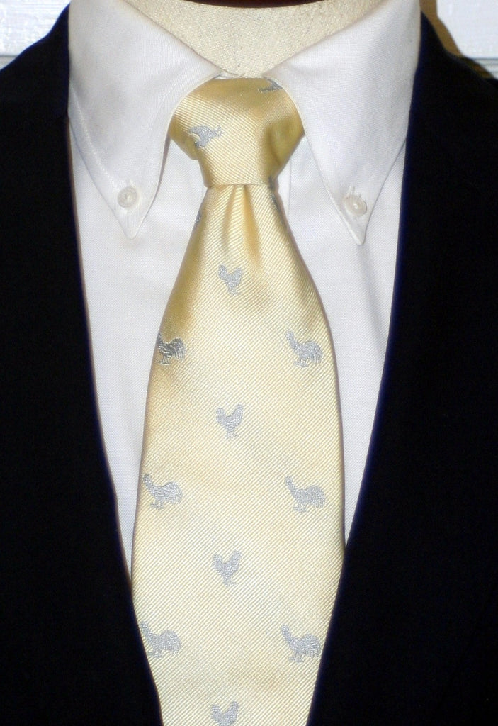 SILVER ROOSTER OF IVORY SILK LONG TIE