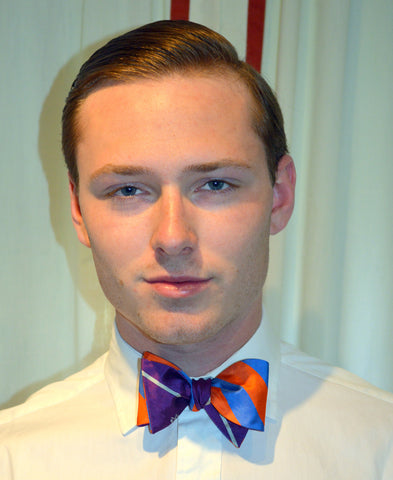 Purple/White + Orange/Blue Silk Reversible Bow Tie