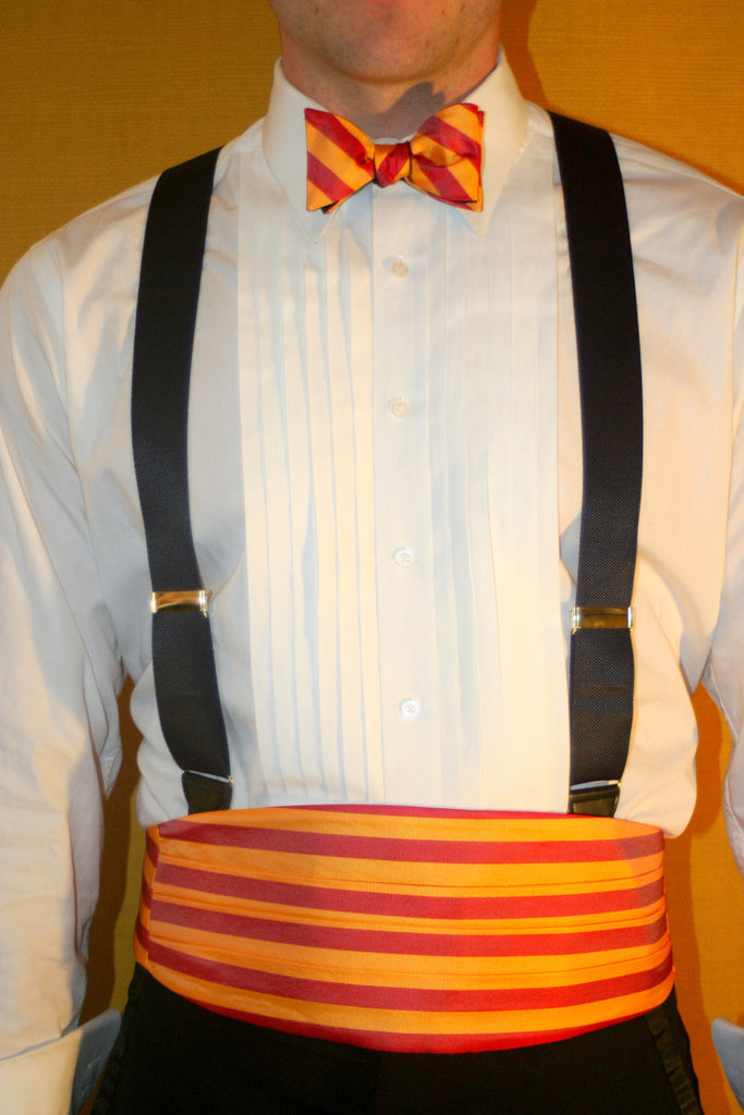 English Silk Repp Cummerbund and Bow Tie set BRIGHT GOLD/RED