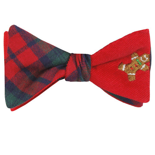 GINGERBREAD MAN + RED TARTAN COTTON REVERSIBLE BOW TIE