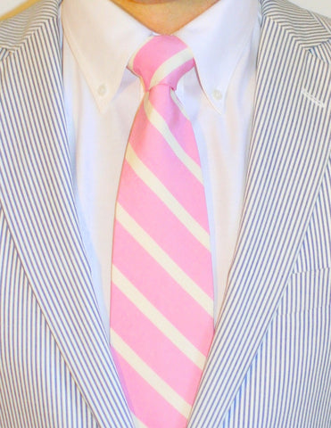 ENGLISH WASHED PINK SILK LONG TIE