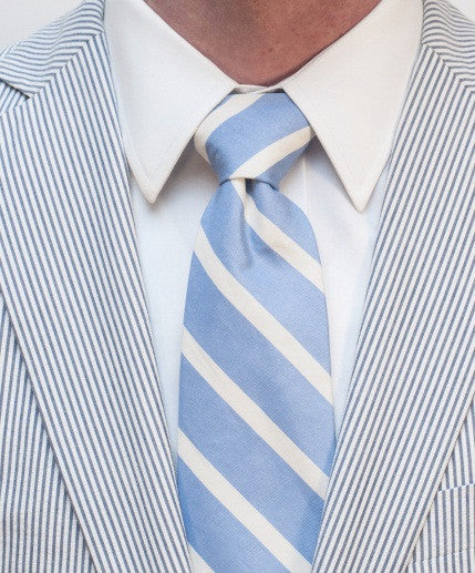 ENGLISH WASHED BLUE SILK LONG TIE