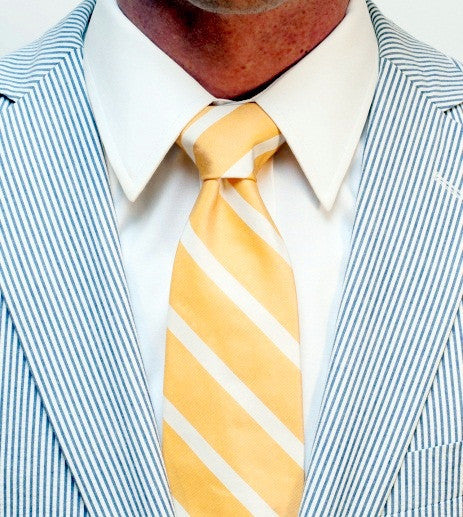 ENGLISH WASHEDYELLOW SILK LONG TIE