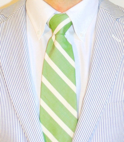 ENGLISH WASHED GREEN SILK LONG TIE