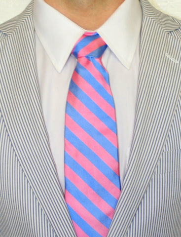ENGLISH SILK REPP STRIPE LONG TIE PINK/BLUE