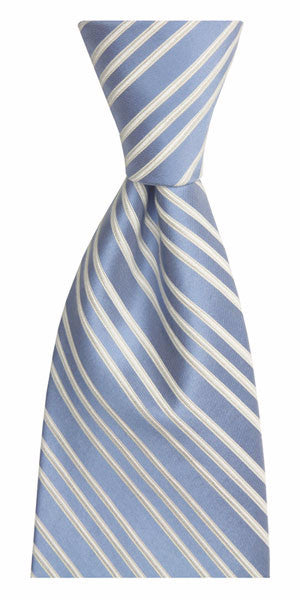 ENGLISH EMBROIDERED STRIPE WASHED SILK TIE