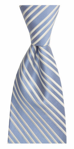 ENGLISH EMBROIDERED STRIPE WASHED LONG SILK TIE